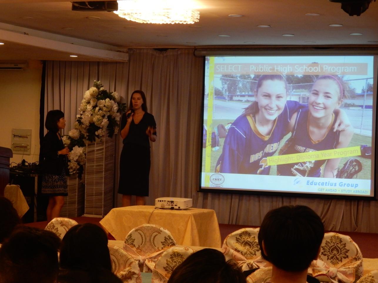 Bà Emma Hanson chia sẻ về chương trình học bổng hiện tại của Educatius